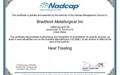 Braddock Metallurgical, Jacksonville, Florida Recived Nadcap Accreditation